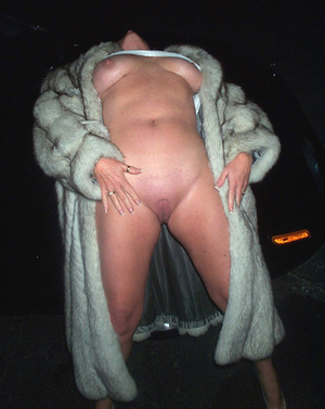 Naked mature whore with big juggs in a fur coat banged on the car hood - XXXonXXX - Pic 2
