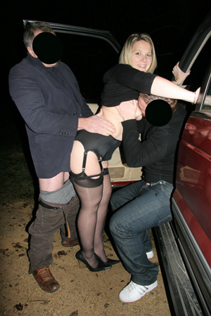 Mature blonde slut in black stockings enjoys threesome in the car - XXXonXXX - Pic 2