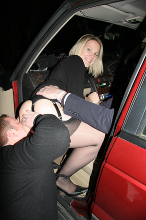 Blonde whore in black stockings plugged both ends in the res car - XXXonXXX - Pic 3