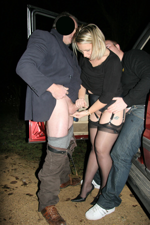 Mature blonde slut in black stockings enjoys threesome in the car - XXXonXXX - Pic 3