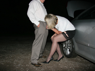 Blonde prostitute in black stockings and high - XXXonXXX - Pic 1