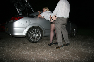 Fat blonde slut in a pink corset waiting for a fucker in the car - XXXonXXX - Pic 2