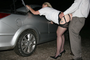 Fat blonde slut in a pink corset waiting for a fucker in the car - XXXonXXX - Pic 4
