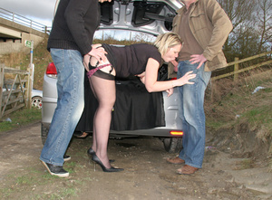 Dirty blonde slut in suspender swallows dick when doggystyled in the forest - XXXonXXX - Pic 3