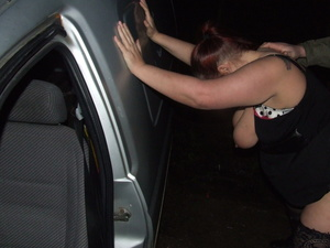Fat red whore in stockings blowing cock in the car when doggystyled - XXXonXXX - Pic 2