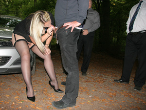 Three men queuing at the car for a hard blowjob from blonde prostitute - XXXonXXX - Pic 2