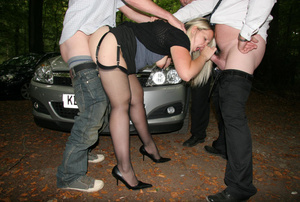 Three men queuing at the car for a hard blowjob from blonde prostitute - XXXonXXX - Pic 4