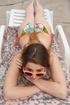 Slim teen beauty in nice bikini and sunglasses