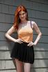 Bodacious ginger beauty raises her short skirt to…
