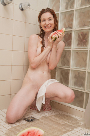 Naked red angel breaking water melons in - XXX Dessert - Picture 4