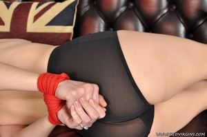 Lingerie clad slutty blonde's wrists and ankles restrained with hot red cord - XXXonXXX - Pic 4