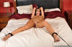 Beautiful brunette virgin submissive while being ball agged and bound spread eagle on the bed - XXXonXXX - Pic 7