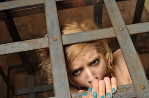 Blonde virgin slut pleads with her eyes as she is gagged, bound, and locked inside a lattice crate - XXXonXXX - Pic 6