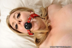 Blonde slutty virgin teases helplessly while cross tied and gagged on the bed - XXXonXXX - Pic 12