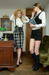 Concerned blonde headmistress makes geeky student…
