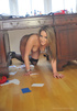 Very naughty blonde trashes headministress's desk…