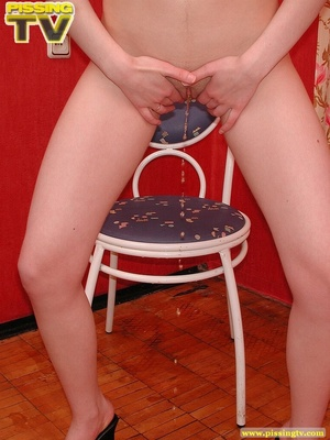 Bitchy brunette temptress wearing a sexy red dress strips, shows her sweet wet juicy in every possible position then takes a piss on the chair - XXXonXXX - Pic 19