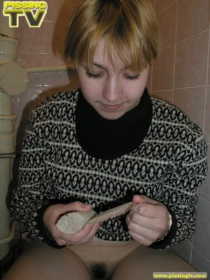 Blonde bitch sits on the toilet and enjoys some moments of wonderful piss coming from her tight sweet cunt - XXXonXXX - Pic 15