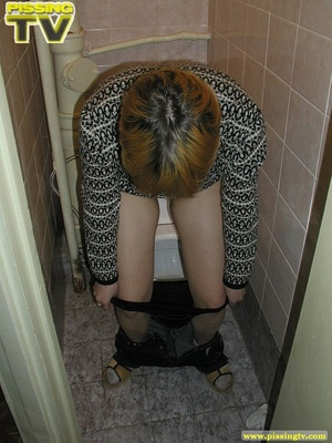 Blonde bitch sits on the toilet and enjoys some moments of wonderful piss coming from her tight sweet cunt - XXXonXXX - Pic 20