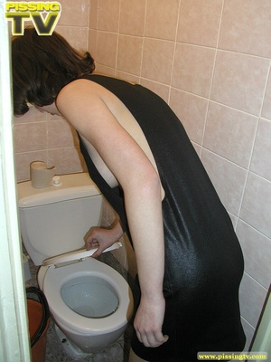 Lusty brunette takes her turn in sitting on the toilet throne and releases a generous gushing of heavenly pee into the bowl - XXXonXXX - Pic 19