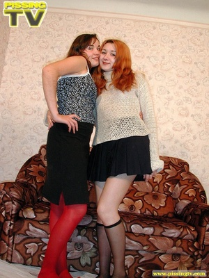 Two horny teens engage in some hot lesbian action that involves kissing, pussy licking, and dildo using which ends up with a pissing contest - XXXonXXX - Pic 1