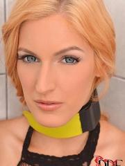 Beautiful blond bitch wearing only fishnet - XXXonXXX - Pic 1