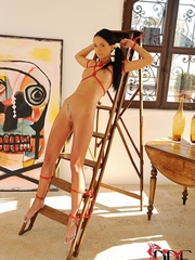 Naive teen brunette is tied to a step ladder and - XXXonXXX - Pic 3