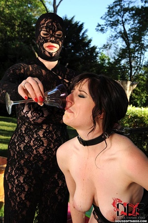 Sexy brunette sub is made by her ruthless dom to piss in wine glass afterwhich the dominatrix had forced her to drink it - XXXonXXX - Pic 11