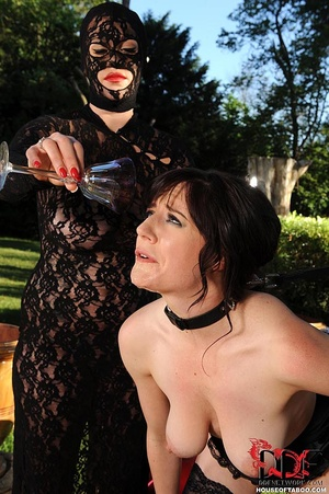 Sexy brunette sub is made by her ruthless dom to piss in wine glass afterwhich the dominatrix had forced her to drink it - XXXonXXX - Pic 12