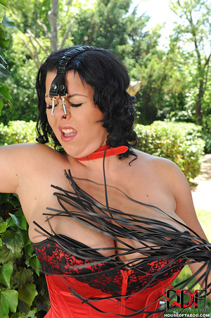 Very busty brunette with nose hooks is tied in the bushes of a garden then is whipped on her breasts by her merciless dom then made to piss - XXXonXXX - Pic 4