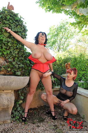 Very busty brunette with nose hooks is tied in the bushes of a garden then is whipped on her breasts by her merciless dom then made to piss - XXXonXXX - Pic 9