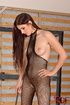 Lusty brunette dom in fishnet body suit squats…