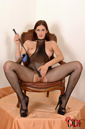 Lusty brunette dom in fishnet body suit squats over and pisses on a nice thick cock tied  with crotch rope - XXXonXXX - Pic 14