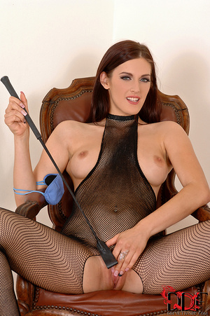 Lusty brunette dom in fishnet body suit squats over and pisses on a nice thick cock tied  with crotch rope - XXXonXXX - Pic 15