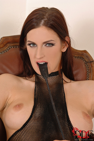 Lusty brunette dom in fishnet body suit squats over and pisses on a nice thick cock tied  with crotch rope - XXXonXXX - Pic 16