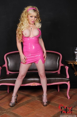 Big boobed slutty blonde in hot pink leather dress with arms chained to body squats with legs wide apart and pissed on the floor - XXXonXXX - Pic 2