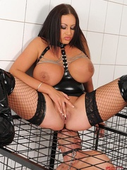Busty brunette dom cages a naked man sub then she - XXXonXXX - Pic 12