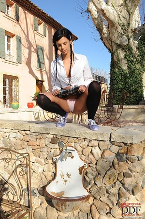 Naughty school girl who is outdoors felt she just had to go so she pisses through her panties then removes and smells it - XXXonXXX - Pic 2