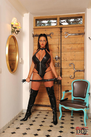 Very big boobed dom in leather thong and over the knee boots plays with a large black dildo and fucks herself with it in her ass and tits - XXXonXXX - Pic 2