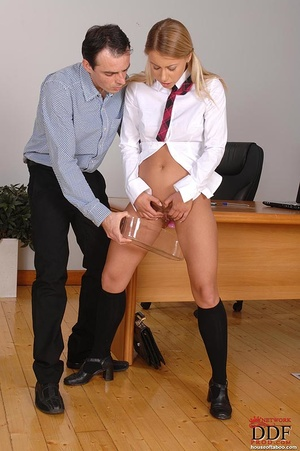 Gagged with her panties, a naughty coed slut is made to suck the male teacher's stiff cock then made to piss into a container which the teacher holds up - XXXonXXX - Pic 5