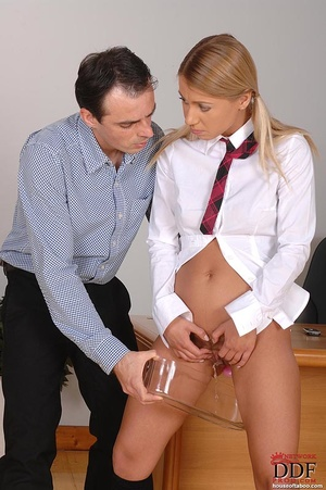 Gagged with her panties, a naughty coed slut is made to suck the male teacher's stiff cock then made to piss into a container which the teacher holds up - XXXonXXX - Pic 7