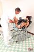 Horny half naked brunette gives examiner a slurpy…