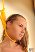 Pretty blonde teen with hands tied behind her back…
