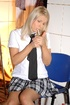 Naughty school girl pisses through her panties and…