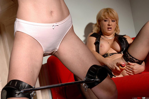 Busty dom fucks herself with a large dildo while watching restained sub bound in spreader bars whilst holding candles take a piss on herself - XXXonXXX - Pic 5