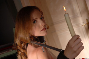 Busty dom fucks herself with a large dildo while watching restained sub bound in spreader bars whilst holding candles take a piss on herself - XXXonXXX - Pic 7