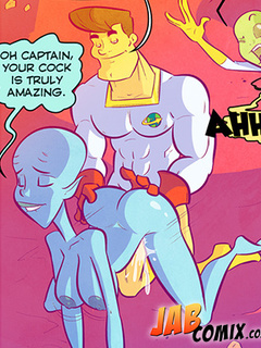 Super hero doggystyling a blue alien girl - Picture 2