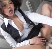 Lovely office girl pleasures her self with her collection of vibrators