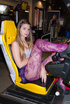 Hot teen in lace purple pantyhose playing gaming…