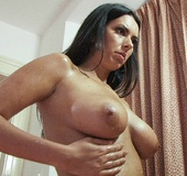 Hot dark-haired babe Isabelle with big juggs is ready for fucking